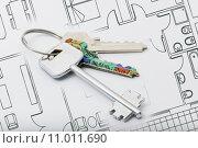 Купить «Three keys in white background», фото № 11011690, снято 23 марта 2019 г. (c) PantherMedia / Фотобанк Лори