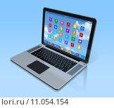 Купить «Laptop Computer - apps icons interface», иллюстрация № 11054154 (c) PantherMedia / Фотобанк Лори