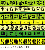 Купить «Background with green and yellow tribal ornaments», иллюстрация № 11065318 (c) PantherMedia / Фотобанк Лори