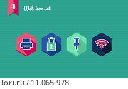 Купить «Web apps geometric flat icons set.», иллюстрация № 11065978 (c) PantherMedia / Фотобанк Лори