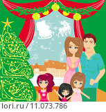 Купить «Family Christmas at home», иллюстрация № 11073786 (c) PantherMedia / Фотобанк Лори