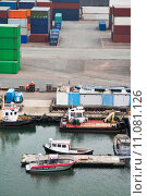 Купить «boats and freight containers in cargo port», фото № 11081126, снято 27 января 2020 г. (c) PantherMedia / Фотобанк Лори
