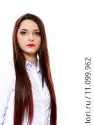 Купить «white background young woman female», фото № 11099962, снято 19 октября 2019 г. (c) PantherMedia / Фотобанк Лори