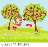 Купить «A little girl collects apples in sunny day», фото № 11101978, снято 18 февраля 2019 г. (c) PantherMedia / Фотобанк Лори