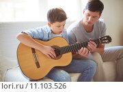 Купить «Playing guitar», фото № 11103526, снято 13 октября 2018 г. (c) PantherMedia / Фотобанк Лори