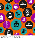 Купить «Happy Halloween elements seamless pattern background EPS10 file.», иллюстрация № 11126054 (c) PantherMedia / Фотобанк Лори
