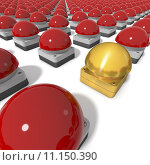 Купить «Red game show buzzers aligned in grid, one centre buzzer golden, 3d rendering on white background», фото № 11150390, снято 10 декабря 2018 г. (c) PantherMedia / Фотобанк Лори
