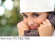 Купить «Beautiful arab woman portrait warmly clothed», фото № 11162166, снято 19 января 2019 г. (c) PantherMedia / Фотобанк Лори