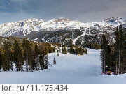 Купить «Ski Slope near Madonna di Campiglio Ski Resort, Italian Alps, Italy», фото № 11175434, снято 26 июня 2019 г. (c) PantherMedia / Фотобанк Лори