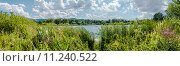 Панорама лесного озера в солнечный день. Стоковое фото, фотограф Сергей Лысенко / Фотобанк Лори