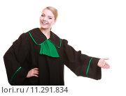Купить «Woman lawyer attorney in classic polish gown in welcome gesture», фото № 11291834, снято 6 июля 2020 г. (c) PantherMedia / Фотобанк Лори