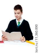 Купить «School boy reading from notebook», фото № 11360890, снято 27 апреля 2018 г. (c) PantherMedia / Фотобанк Лори