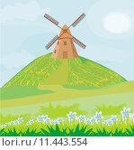 Купить «landscape windmill field rural horizon», иллюстрация № 11443554 (c) PantherMedia / Фотобанк Лори