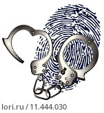 Купить «Thumb print and hand cuffs», иллюстрация № 11444030 (c) PantherMedia / Фотобанк Лори
