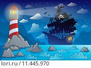 Купить «Pirate ship silhouette near coast 1», иллюстрация № 11445970 (c) PantherMedia / Фотобанк Лори
