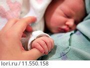 Купить «Спящая новорожденная девочка», фото № 11550158, снято 6 октября 2013 г. (c) Морозова Татьяна / Фотобанк Лори