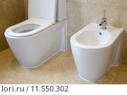 Купить «Toilet and bidet in a marble tiled bathroom», фото № 11550302, снято 21 марта 2019 г. (c) PantherMedia / Фотобанк Лори
