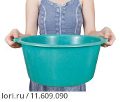 Купить «woman with green plastic basin isolated», фото № 11609090, снято 21 января 2019 г. (c) PantherMedia / Фотобанк Лори