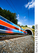 Купить «Fast train passing through a tunnel on a lovely summer day (motion blurred image)», фото № 11629586, снято 17 июля 2019 г. (c) PantherMedia / Фотобанк Лори