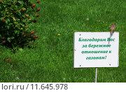 Благодарственная табличка за бережное отношение к газонам. Стоковое фото, фотограф Ирина Буржинская / Фотобанк Лори