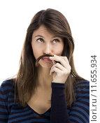 Купить «Woman with moustache», фото № 11655934, снято 17 декабря 2018 г. (c) PantherMedia / Фотобанк Лори