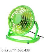 Купить «Зеленый электрический вентилятор», фото № 11686438, снято 15 июля 2015 г. (c) Антон Стариков / Фотобанк Лори