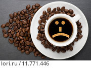 Купить «Cup of coffee with sad», фото № 11771446, снято 3 июля 2020 г. (c) PantherMedia / Фотобанк Лори