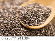 Купить «Nutritious chia seeds on a wooden spoon», фото № 11911394, снято 25 мая 2018 г. (c) PantherMedia / Фотобанк Лори