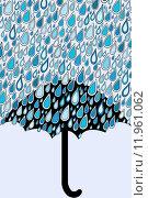 Купить «Umbrella and blue rain drops», иллюстрация № 11961062 (c) PantherMedia / Фотобанк Лори