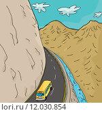 Купить «School Bus In Mountains», иллюстрация № 12030854 (c) PantherMedia / Фотобанк Лори