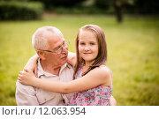 Купить «Happy grandfather with grandchild», фото № 12063954, снято 19 сентября 2019 г. (c) PantherMedia / Фотобанк Лори