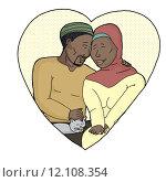 Купить «Happy Couple with Pet in Heart», иллюстрация № 12108354 (c) PantherMedia / Фотобанк Лори