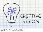 Купить «gearwheels inside lightbulb,creative business vision», фото № 12123182, снято 15 октября 2018 г. (c) PantherMedia / Фотобанк Лори
