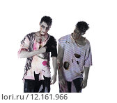 Купить «Two male zombies standing isolated on white background», фото № 12161966, снято 7 июля 2019 г. (c) PantherMedia / Фотобанк Лори