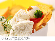 Купить «Curd cheese with corn chips», фото № 12200134, снято 21 ноября 2018 г. (c) PantherMedia / Фотобанк Лори