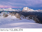 Купить «Dolomites in winter during the sunrise», фото № 12206374, снято 20 июня 2019 г. (c) PantherMedia / Фотобанк Лори