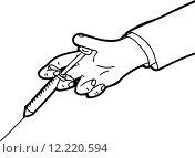 Купить «Outline of Hand Holding Needle», иллюстрация № 12220594 (c) PantherMedia / Фотобанк Лори