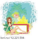 Купить «grunge banner palm trees sexy», иллюстрация № 12221594 (c) PantherMedia / Фотобанк Лори