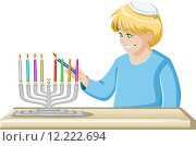 Купить «A Boy Lights A Hanukkiah Candle», иллюстрация № 12222694 (c) PantherMedia / Фотобанк Лори