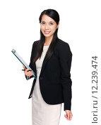 Купить «Asian business woman with file pad», фото № 12239474, снято 18 июня 2019 г. (c) PantherMedia / Фотобанк Лори