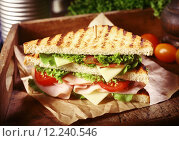 Купить «Grilled Clubhouse Sandwich with Fresh Toppings», фото № 12240546, снято 23 июля 2018 г. (c) PantherMedia / Фотобанк Лори