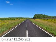 Загородное асфальтовое шоссе с одной линией прерывистой и двумя линиями непрерывной белой дорожной разметки. Стоковое фото, фотограф Игорь Травкин / Фотобанк Лори