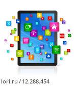 Купить «Digital Tablet pc and flying apps icons», иллюстрация № 12288454 (c) PantherMedia / Фотобанк Лори