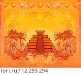 Купить «Mayan Pyramid, Chichen-Itza, Mexico - grunge abstract background», иллюстрация № 12293294 (c) PantherMedia / Фотобанк Лори