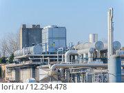 Купить «Series of tubes and containers of a chemical complex», фото № 12294478, снято 16 октября 2018 г. (c) PantherMedia / Фотобанк Лори