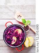 Купить «Gourmet Healthy Red Cabbage and Apple Salad», фото № 12310690, снято 12 декабря 2017 г. (c) PantherMedia / Фотобанк Лори