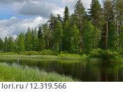 Купить «Северный пейзаж с тихой рекой», фото № 12319566, снято 3 июля 2015 г. (c) Валерия Попова / Фотобанк Лори