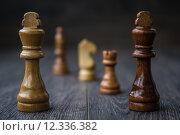 Купить «Chess Pieces on a Wooden Table», фото № 12336382, снято 21 сентября 2019 г. (c) PantherMedia / Фотобанк Лори