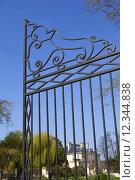 Купить «Wrought iron gate of a French residence», фото № 12344838, снято 16 февраля 2019 г. (c) PantherMedia / Фотобанк Лори