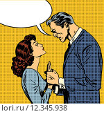 Купить «husband and wife lovers serious talk love conflict pop art comic», фото № 12345938, снято 21 апреля 2019 г. (c) PantherMedia / Фотобанк Лори
